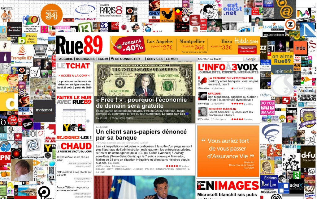 Page design at Rue89.com looks a little like what splatters on the side of the carny Tilt-a-Whirl after you load it up with a buncha 10-years olds who've spent the day eating cotton candy and mystery meat hotdogs.