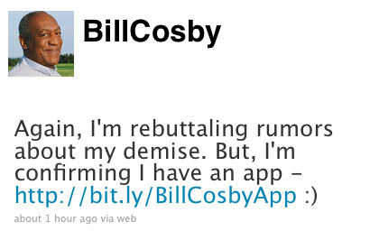 Bill Cosby's twittered rebuttal of his demise