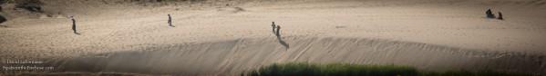 people walk across sand dunes in a vast desert